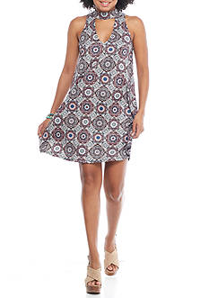 Golden Touch Printed Mock Neck Swing Dress
