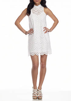 Derek Heart Mock Neck All Over Lace Dress