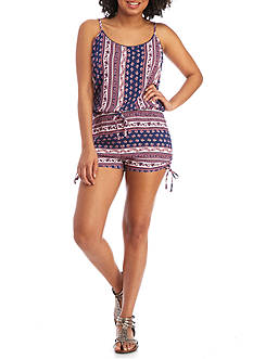Derek Heart Printed Knit Romper with Tie Shorts