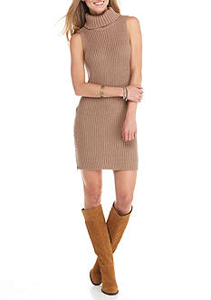 Golden Touch Rib Turtle Neck Dress With Zipper