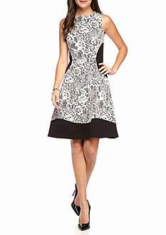IVANKA TRUMP Bonded Lace and Scuba A-line Dress