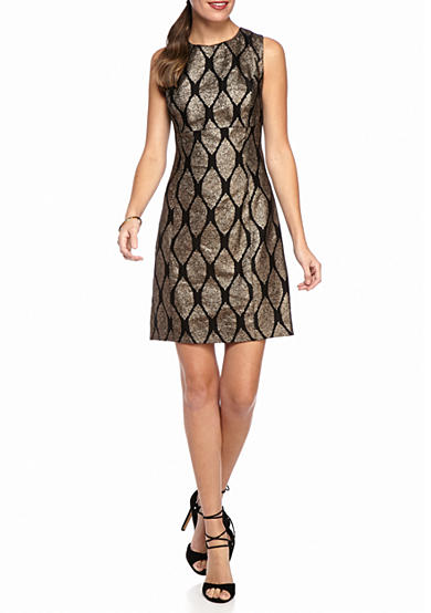IVANKA TRUMP Metallic Printed Brocade Sheath Dress