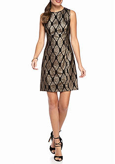 IVANKA TRUMP Metallic Printed Brocade Sheath Dress