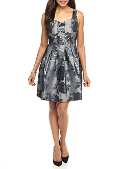 IVANKA TRUMP Floral Printed Brocade Fit and Flare Dres