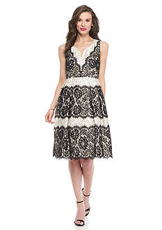 IVANKA TRUMP Colorblock Lace Fit and Flare Dress