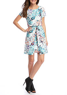 IVANKA TRUMP Floral Printed Popover Dress
