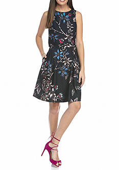 IVANKA TRUMP Floral Printed Popover Fit and Flare Dress