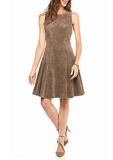 IVANKA TRUMP Faux Suede Fit and Flare Dress