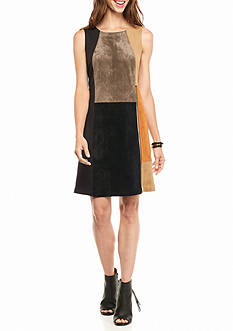 IVANKA TRUMP Faux Suede Colorblock Sheath Dress