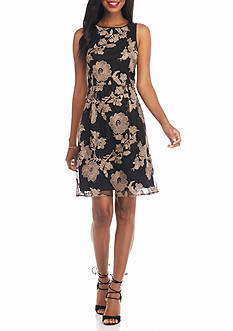 IVANKA TRUMP Embroidered Mesh Fit and Flare Dress