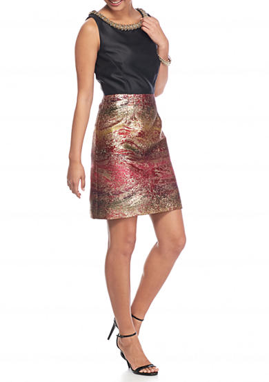IVANKA TRUMP Beaded Rope Neck Brocade Sheath Dress