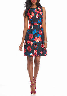 IVANKA TRUMP Floral Printed Fit and Flare Dress