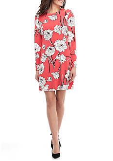 IVANKA TRUMP Floral Printed Cold Shoulder Dress