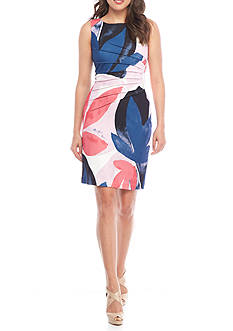 IVANKA TRUMP Printed Starburst Pleat Sheath Dress