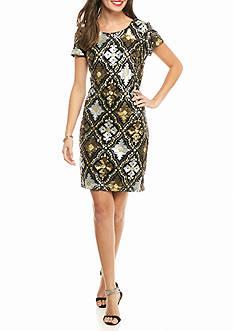 maia Metallic Sequin and Mesh Sheath Dress