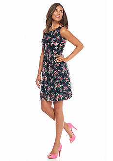 maia Printed Lace Fit and Flare Dress