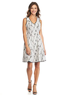 maia Bonded Lace Fit and Flare Dress