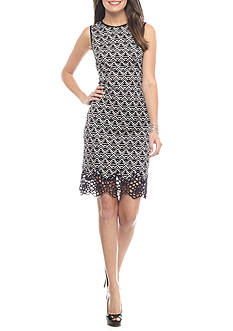 maia Crochet Trim Printed Sheath Dress