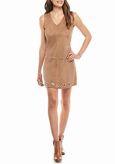 ALLEN B. BY ALLEN SCHWARTZ Faux Suede Shift Dress with Grommet Hem