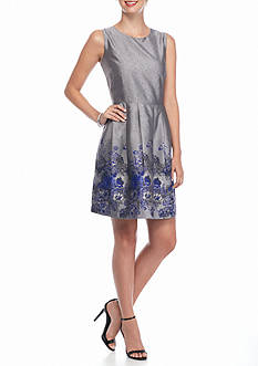 ALLEN B. BY ALLEN SCHWARTZ Floral Jacquard Fit and Flare Dress