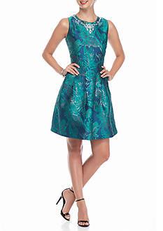 ALLEN B. BY ALLEN SCHWARTZ Bead Embellished Fit and Flare Dress