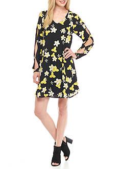 ALLEN B. BY ALLEN SCHWARTZ Floral Cutaway Sleeve Trapeze Dress