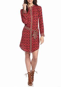 ALLEN B. BY ALLEN SCHWARTZ Printed Chiffon Shirt Dress