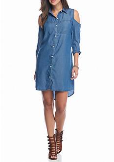 ALLEN B. BY ALLEN SCHWARTZ Cold Shoulder Denim Shirt Dress
