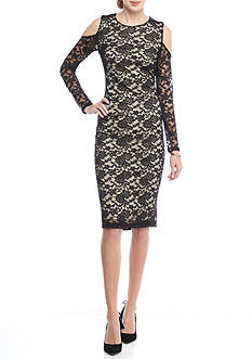 alison andrews™ Cold Shoulder Lace Midi Sheath Dress