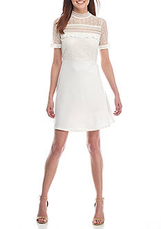 alison andrews™ Short Sleeve Lace Fit and Flare Dress