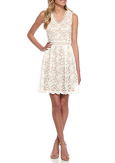 alison andrews™ Lace Fit and Flare Dress