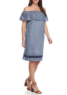 alison andrews™ Off the Shoulder Chambray Shift Dress