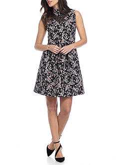 alison andrews™ Floral Jacquard Fit and Flare Dress