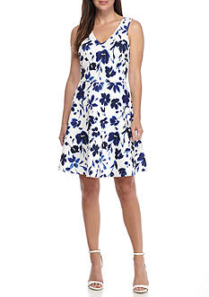 alison andrews™ Floral Printed Fit and Flare Dress