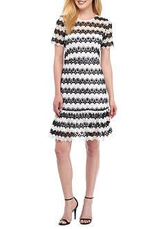 Nanette Nanette Lepore™ Two-Tone Lace Shift Dress with Ruffle Hem