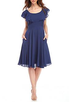 Nanette Nanette Lepore™ Flutter Sleeve Chiffon Fit and Flare Dress
