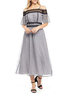 Nanette Nanette Lepore™ Cold Shoulder Gingham Print Maxi Dress