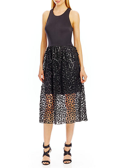 Nicole Miller New York Sequin Lace Skirt Cocktail Dress