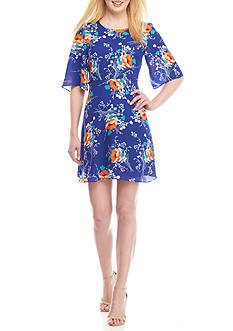 Charles Henry Floral Printed Swing Dress