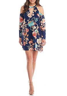 Charles Henry Floral Printed Cold Shoulder Swing Dress