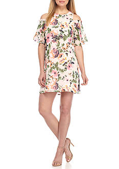Charles Henry Cold Shoulder Floral Printed Shift Dress