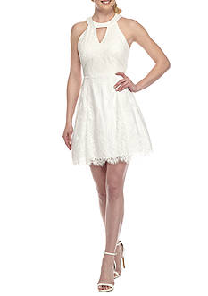 Dear Moon Lace Halter Fit and Flare Dress
