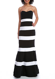 Dear Moon Color Block Strapless Dress