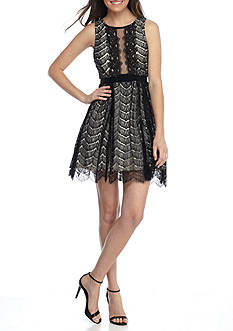 Dear Moon Lace Fit and Flare Party Dress
