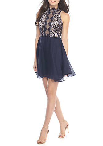 Dear Moon Lace Top Fit And Flare Dress Belk