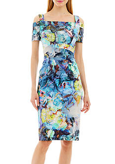 Nicole Miller New York Printed Cold Shoulder Dress