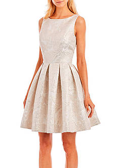 Nicole Miller New York Brocade Fit and Flare Dress