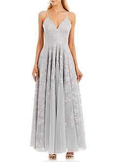 Nicole Miller New York Embroidered Mesh Gown