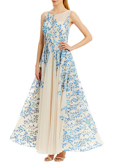 Nicole Miller New York Illusion Embroidered Gown