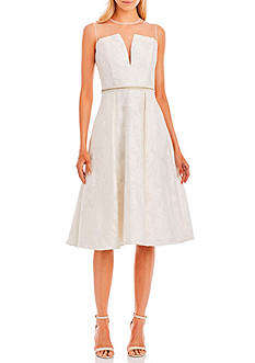 Nicole Miller New York Illusion Neckline Brocade Fit and Flare Dress